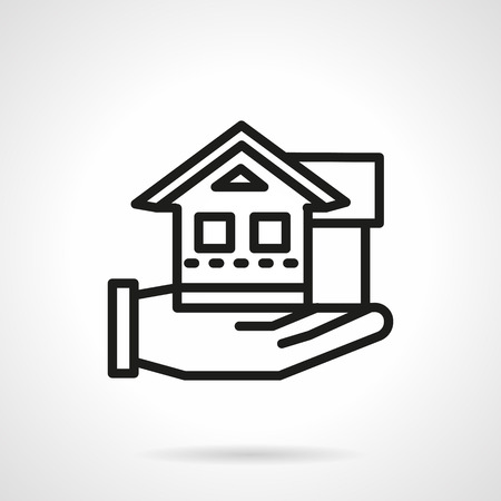 for rental: Flat line design icon for rental house agency