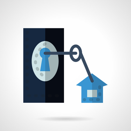 closed lock: Abstract blue icon for rental of property flat style Illustration