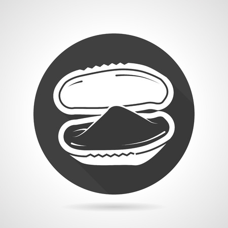 cozza: Icona nera rotonda con contorno bianco ostrica aperto o cozze Vettoriali