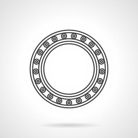 bearing: Flat line design icon for roller bearing
