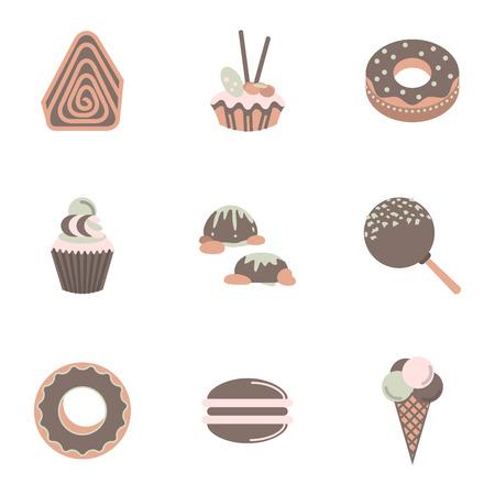 sweet treats: Flat color style set of sweet treats icons