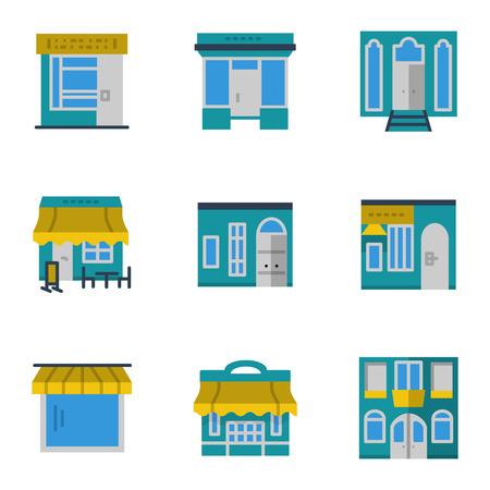 escaparates de tiendas: Estilo de color plano conjunto de escaparates y vitrinas iconos