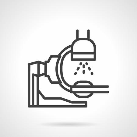 シンプルなフラット ライン スタイル x 線マシンのアイコン。X 線試験室、診療所機器装置です。Web デザインの要素です。