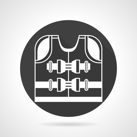 life jacket: Black round  icon with white contour life jacket. Life vest, outfit for safety on boat, ship, yacht. Web design elements. Illustration