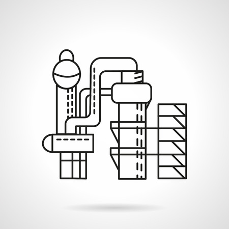 condenser: Flat thin line style distillery icon. Food industry structures. Web design elements.