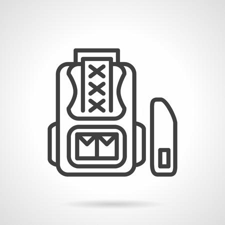 haversack: Flat simple line style school accessory  icon. School bag and pencil box. Web design elements.