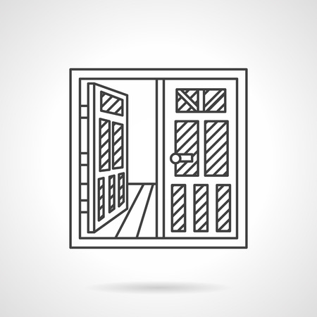 room door: Flat thin line design open room door icon. Rental of commercial property. Web design elements.