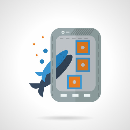 taking picture: Flat color design fish selfie  icon. Taking picture photo of fish with phone, selfie shot, cat food. Web design elements. Illustration