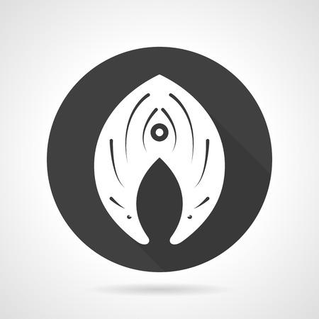 Black round  icon with white silhouette fish slice. Seafood menu, fish menu, ingredient. Web design elements.