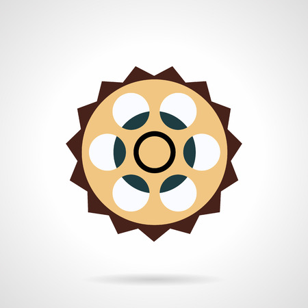 spare: Flat color design sprocket icon. Bicycle spare parts, chain sprocket, crankset part. Web design elements. Illustration