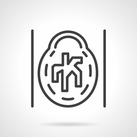 resonancia: Icono simple plano abstracto estilo de l�nea CAT cerebro. MRI, MRA, radiograma de resonancia magn�tica del cerebro. Elementos de dise�o Web.