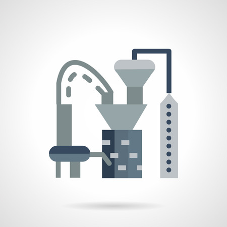 tanks: Flat color design plastics processing plant icon. Industrial buildings and architecture, environment pollution. Web design elements.