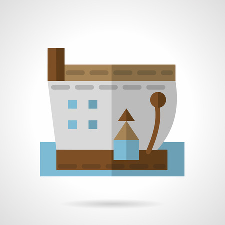 Flat color design sea barge vector icon. Marine industry, cargo vessel, shipment. Web design elements.