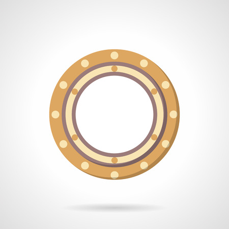friction: Flat color style roller bearing vector icon. Part of rotate mechanism. Web design elements. Illustration