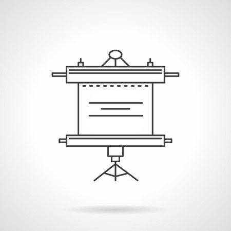 presentation screen: Flat line style presentation screen vector icon. Blank roller screen with tripod for training, presentation, learning, business meeting. Web design elements. Illustration