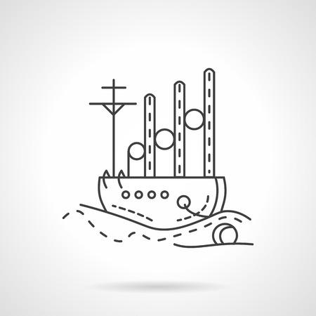 cargo vessel: Flat thin line style sea transportation vector icon. Cargo ship, sea vessel. Web design elements.