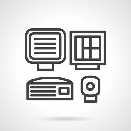 operating room: Negro sencillo icono de l�nea vectorial para el equipo m�dico. Equipos de diagn�stico para el centro de datos de la sala de operaciones. Elemento de dise�o web para los negocios Vectores