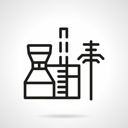 petrochemical: Black simple line style vector icon for petrochemical plant. Industrial structures and buildings. Web design element for business. Illustration