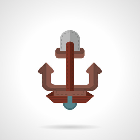 mooring anchor: Flat color design vector icon for vessel anchor. Brown anchor as marine symbol. Web design element for business. Illustration