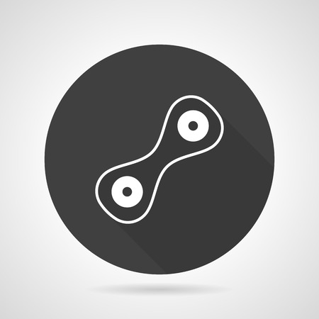 Round black vector icon with white line cell division, Abstract symbol for biology. Two connected cells with nucleus. Web design element for business.