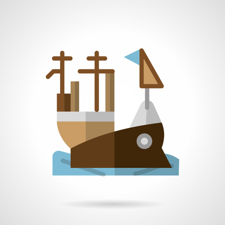 aircraft carrier: Flat color design vector icon for aircraft carrier. Sea vessel, navy, army objects. Web design element for business.