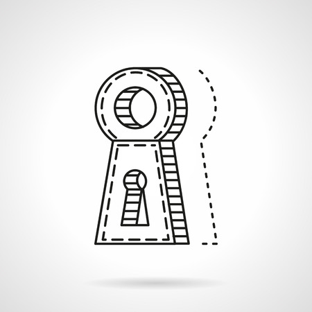 door lock: Abstract flat line vector icon for door lock with keyhole. Rental and selling of property. Web design element for business.