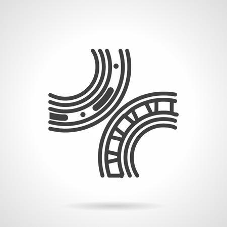 ベアリング: 軸受機構のシンプルなフラット ラインのスタイルのベクトルのアイコン。ローラーとボール ベアリング、スペア ・ パーツの詳細。ビジネスの web デザイン要素です。