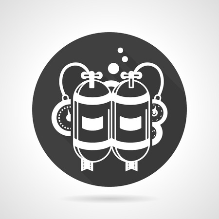 aqualung: Round black vector icon with white contour aqualung. Depth breathing system with two cylinders, hoses and barometer. Web design element for business. Illustration