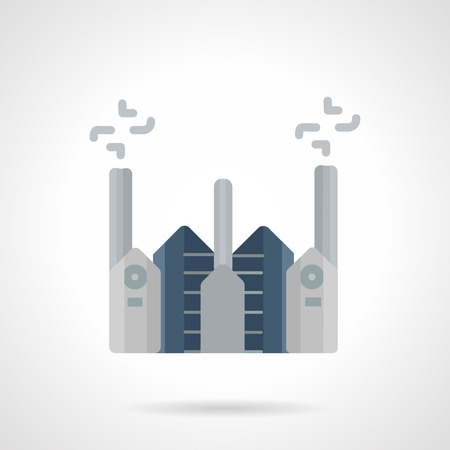 Flat color design vector icon for cement factory. Construction industry architecture. Web design element for business.