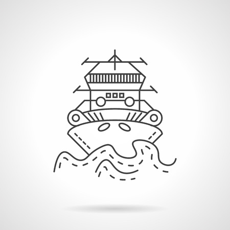 Thin line style vector icon for marine tugboat. Front view of the push boat, tow boat for mooring of other courts. Web design element for business. Illustration