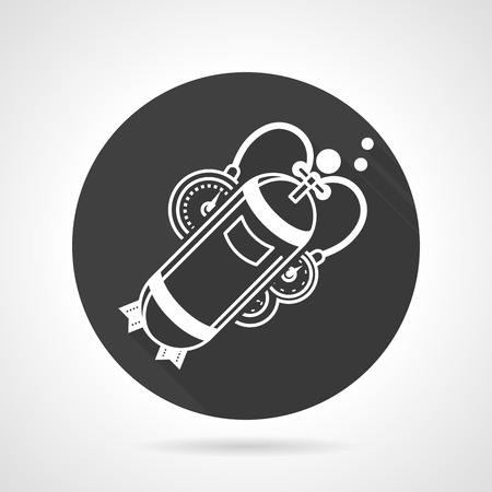 aqualung: Aqualung with single cylinder and console. Black round vector icon. Outfit and equipment for diving. Elements for web design and business