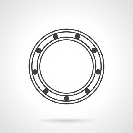 friction: Flat line design vector icon for roller bearing. Parts for reduce rotational friction. Elements for web design and business