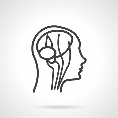 cerebral artery: Blood supply of the head and neck. Simple line vector icon. Head anatomy, CT imaging, angiogram.  Elements for web design and business