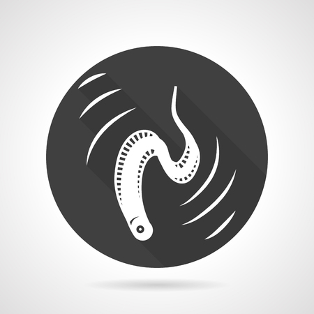 eel: Black round vector icon with white silhouette moving eel. Seafood menu, underwater creatures. Elements for web design and business Illustration