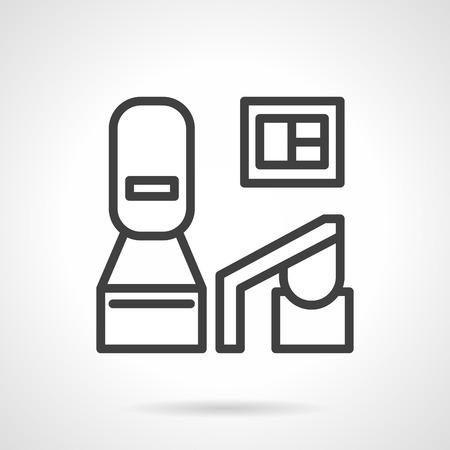 operating room: Icono simple l�nea de vectores para el equipo m�dico de diagn�stico moderno para el centro de datos de la sala de operaciones. Elementos para el dise�o web y negocio Vectores