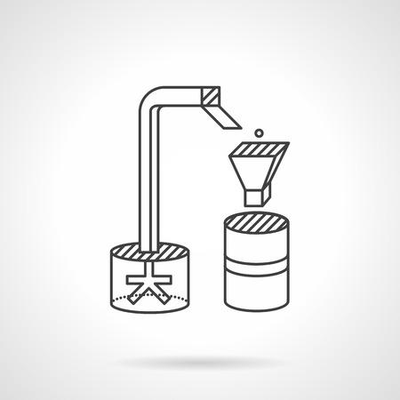 industriales: La clasificación y el procesamiento de las máquinas. línea de icono del diseño vectorial delgada. Embalaje y clasificación de equipos para la industria. Elementos para el diseño web y negocio