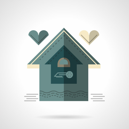 for rental: House with heart. Flat color style vector icon. Sign for rental of property or mortgage for families. Elements for web design and business