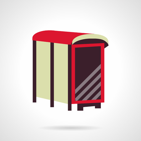 parada de autobus: Cartelera publicitaria en blanco marr�n en una parada de autob�s. estilo del icono del vector plana. muestra la publicidad al aire libre. Los elementos de dise�o web para el negocio y el sitio web.