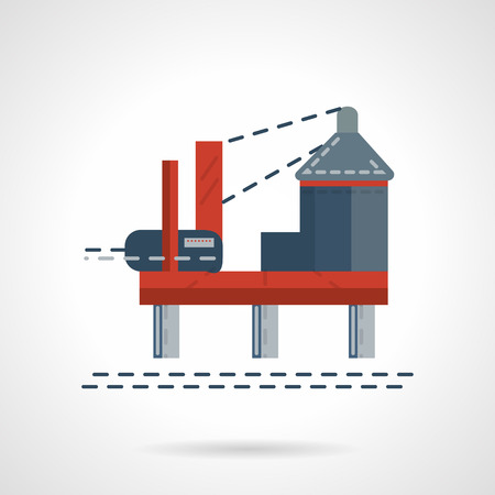 extraction: Oil platform in sea offshore area. Flat design vector icon. Extraction and processing of natural resources. Elements of web design for business and website.