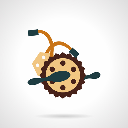 alloy wheel: Electric bike crankset with wires. Flat color vector icon. Alternative transport. Elements of web design for business and website. Illustration