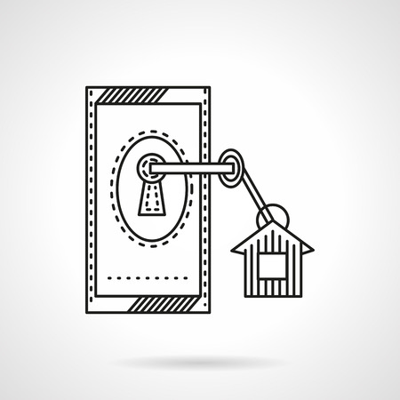 doorlock: Doorlock with key with label. Flat line vector icon. Symbol for rental of property. Elements of web design for business and website.