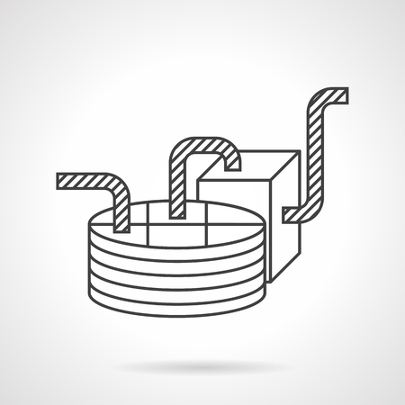 industrial machine: Industrial chocolate processing machine. Flat line design vector icon. Food processing. Elements of web design for business and website.