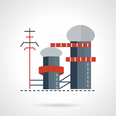 approximately: Biomass or multi-fuel power station. Flat style vector icon. New technology industry. Elements of web design for business and website. Illustration