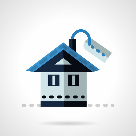 property for sale: Blue house with price tag. Flat vector icon. Property for sale, rental of house. Elements of web design for business and website.