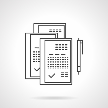 treaty: Set of paper witn sign and pen. Flat line vector icon. Business concept, contract, agreement. Elements of web design for business and website. Illustration