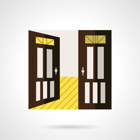 premises: Open door to room with yellow floor. Flat color style vector icon. Rent of room, premises, office. Elements of web design for business and website. Illustration