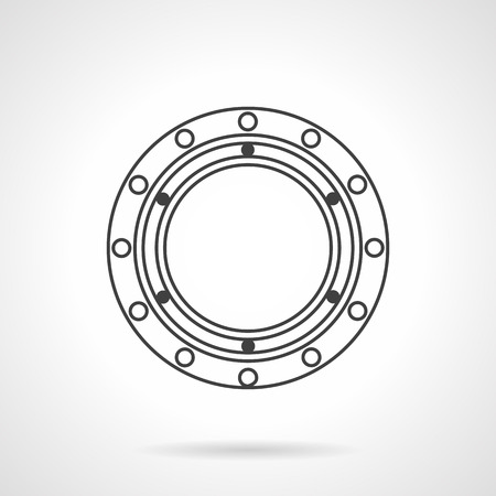 Rolling ball bearing. Flat line vector icon. Component of rotating mechanism. Elements of web design for business and website.