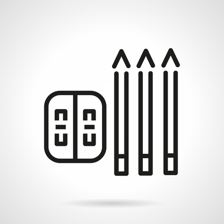 sharpened: Three pencils and sharpener. Simple flat line vector icon.  School supplies and items for designers, engineers. Elements of web design for business and website.