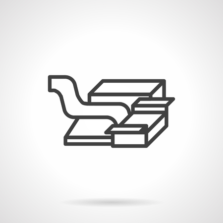 conveyor system: Packaging and handling goods at at conveyor system. Simple line abstract vector icon. Design symbols for website and business.