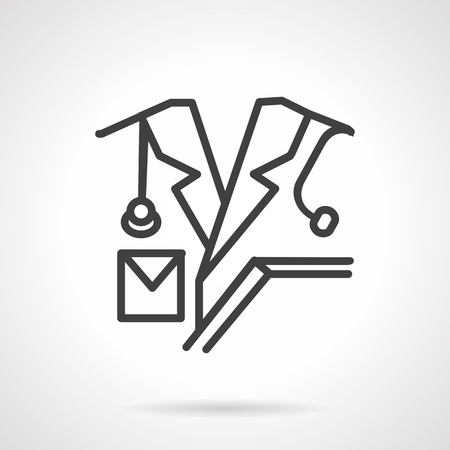 medical personnel: Doctor with stethoscope. Black simple line vector icon. Medical personnel. Design symbols for website and business. Illustration